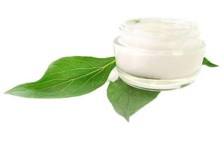 Cream Péče o pleť kosmetické bio přírodní na bílém pozadí Reklamní fotografie