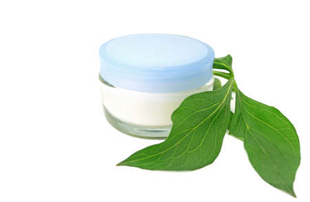 Cream bio natural skin care cosmetic on white background