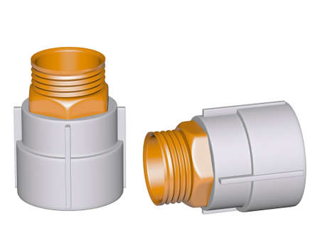 Fitting - PVC connection coupler outside screw thread isolated on white background Used to install plumbing and heating pipes made of polypropylene 3d photo