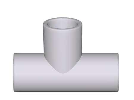 kunststoff rohr: Fitting - PVC-Verbindung wye 90 � isoliert auf wei�em Hintergrund verwendet, um Sanit�r-und Heizungsrohre aus Polypropylen 3d gemacht installieren