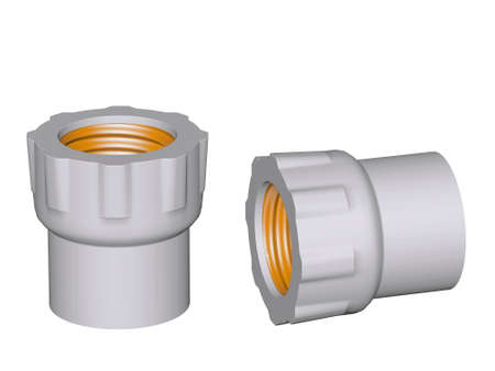 Fitting - PVC connection coupler inside screw thread powered isolated on white background Used to install plumbing and heating pipes made of polypropylene 3d photo