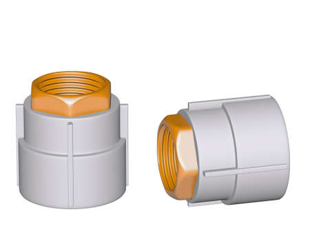Fitting - PVC connection coupler inside screw thread isolated on white background Used to install plumbing and heating pipes made of polypropylene 3d photo
