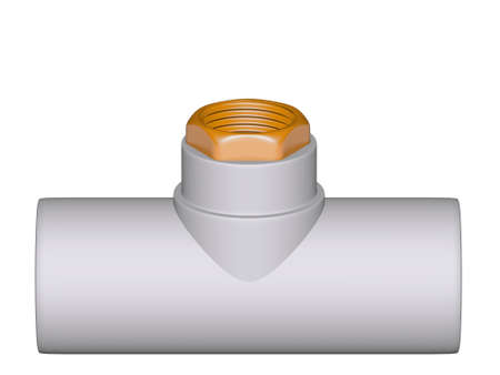 Fitting - PVC connection wye inside screw thread isolated on white background Used to install plumbing and heating pipes made of polypropylene 3d Stock Photo - 13784394