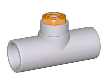 Fitting - PVC connection wye inside screw thread isolated on white background Used to install plumbing and heating pipes made of polypropylene 3d photo