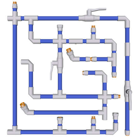 Accesorios de fontanería del sistema de tuberías de agua de PVC en el fondo blanco 3d