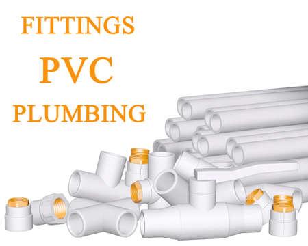 Conexiones de PVC y tubos de polipropileno en 3D sobre fondo blanco Foto de archivo