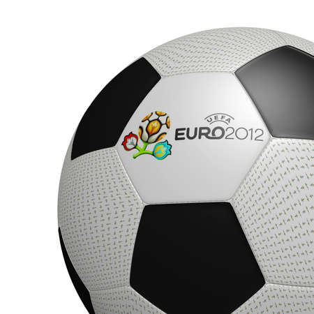 Football Euro 2012 Official logotype UEFA on ball 3d on white background