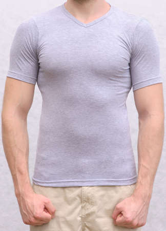 T-shirt cotton on a Young Man Template Athletic body sportsman torso front view Stock Photo