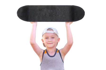 Boy Child with Skateboard raised up his Head as Winner isolated on white background photo