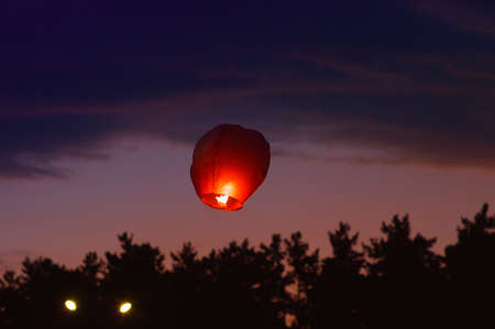 Sky Chinese Lantern with fire flying Holiday Tradition