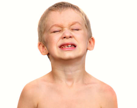 child s: Little Boy Child making sore crying Face showing Calf