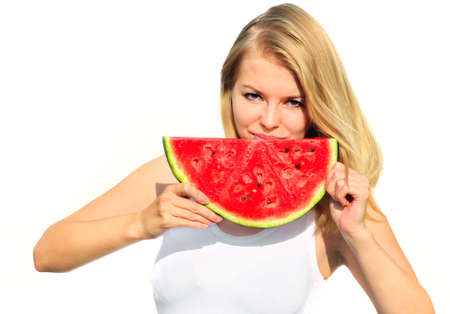 water melon: Young Woman eating big slice Watermelon Berry fresh in hands Beautiful Smiling Face and Blonde Hair Organic Food concept isolated on white background Stock Photo