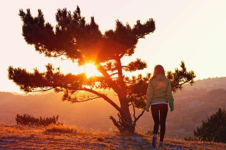 山とオレンジとピンクの色憂鬱な孤独の感情の概念でビューの背後に夕日を単独で歩く女性の孤独な木