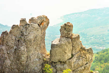 Rocks and Stones of Mountain with aerial view seaside on background Crimea Landscape Summer day