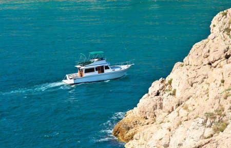 pleasure boat: White Yacht pleasure Boat floating in blue Sea beautiful aerial view Summer Traveling Transport