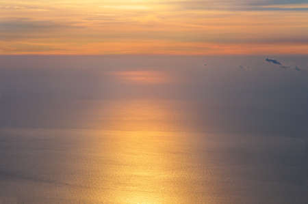 dawning: Dawning Sky and Sea on Sunrise morning beautiful Infinity scenery Background with natural soft colors Aerial view from mountain summit