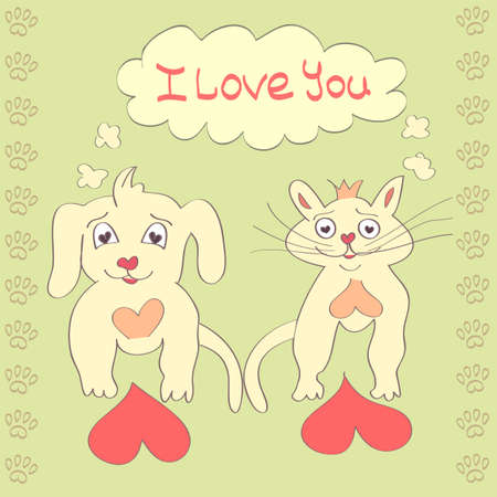 Valentine Dog and Cat cute cartoon character Love Heart Valentines day Greeting card Hand drawn trendy colors Romantic concept in vector Vector