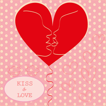 Kissing Couple in Love Heart Valentines day Greeting card trendy retro colors Romantic relationship abstract style concept in vector Vector