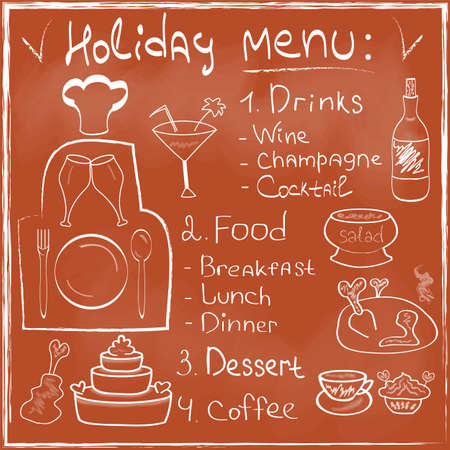 holiday food: Holiday Food Menu set hand drawn on chalkboard Restaurant Design trendy style Organic Food concept in vector