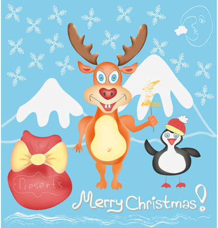 Merry Christmas Greeting card with Deer and Penguin cute cartoon characters with Snowflakes and Presents bag Winter Holidays Hand drawn trendy colors in vector Vector