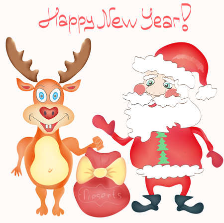 Happy New Year Holiday Greeting card with Deer and Santa Claus cartoon characters with Presents bag Hand drawn on white background in vector Vector