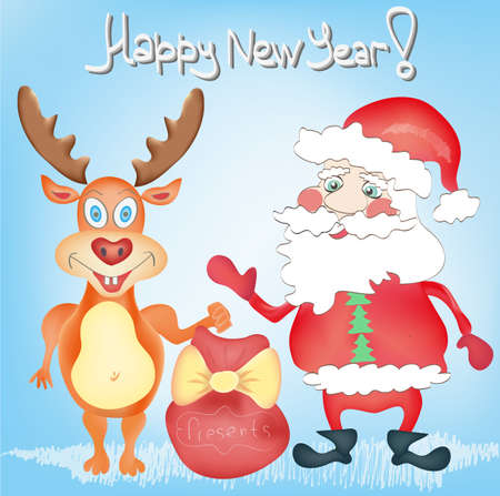 Happy New Year Holiday Greeting card with Deer and Santa Claus cartoon characters with Presents bag Hand drawn trendy colors in vector Vector