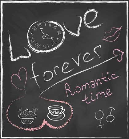 Amor por siempre y tiempo Romantic concepto dibujado a mano en la pizarra con reloj abstracto y fijó con los corazones, taza de café, pasteles, símbolos de género y los labios en el vector
