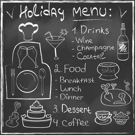 Mano Menú Holiday Food set dibujado en la pizarra del restaurante Diseño de moda del estilo Concepto de alimentos orgánicos en el vector Foto de archivo - 23900681