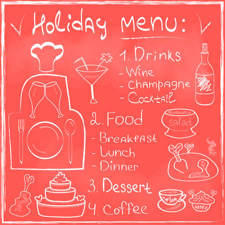 Holiday Food Menu set hand drawn on chalkboard Restaurant Design trendy style Organic Food concept in vector Vector