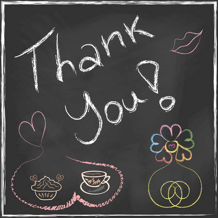 Thank You Lettering Message handwriting on blackboard with set of abstract flower and coffee cup with cake in vector