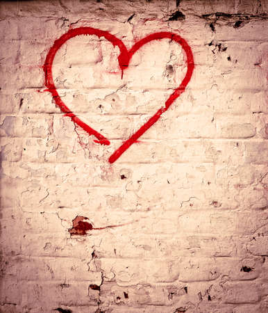 canvas on wall: Red Love Heart hand drawn on brick wall grunge textured background trendy street style