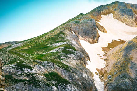 Rocky Mountains Summit with glacier snow way beautiful Landscape nature
