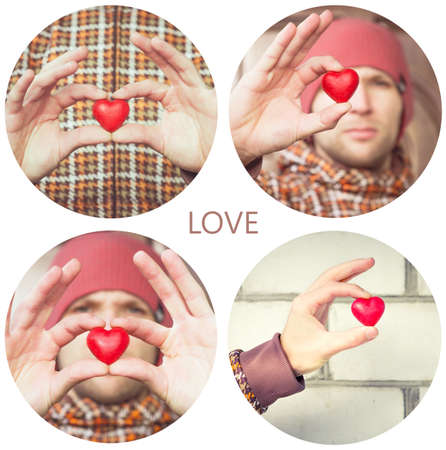 greeting people: Heart shape love symbol in man hands Valentines Day holiday romantic greeting people relationship concept collage set Stock Photo