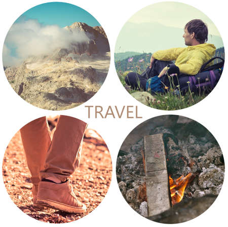 Travel lifestyle concept with mountains and people outdoor vacations collage photo