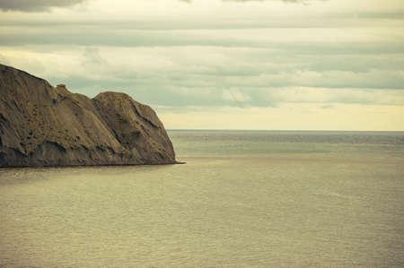 headland: Beautiful Sea and Sky horizon Landscape with headland retro colors toning