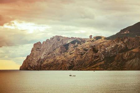 headland: Beautiful Sea and sunset Sky Landscape with rocky headland