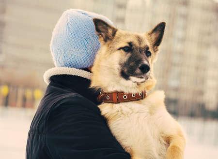 mujer con perro: Perro de perrito del pastor y la mujer abrazando vida al aire libre y el concepto de la amistad Foto de archivo