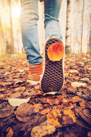 秋の上を歩く女性の足のスニーカー ライフ スタイル ファッションのトレンディなスタイルの背景に秋シーズン自然と屋外を葉します。