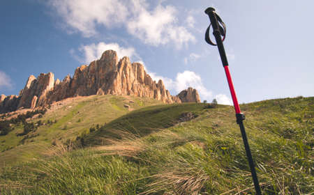 trekking pole: Great Thach Mountain rocks and trekking pole Landscape Summer Travel hiking concept scenic view Stock Photo