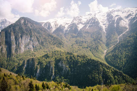 natural scenery: Caucasus Mountains Landscape Summer Travel sky clouds scenery