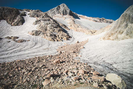 fisht: Rocky Mountains with glacier snow Landscape Summer Travel blue sky morning scenery