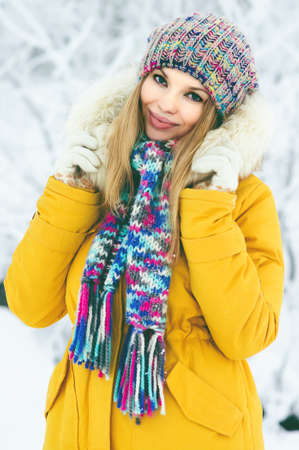 winter fashion: Winter Woman happy smiling fashion clothing outdoor Travel Lifestyle snow nature on background