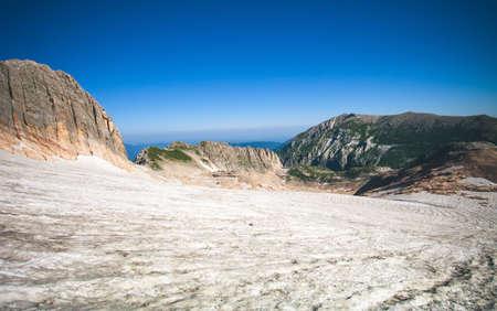 fisht: Rocky Mountains Glacier snow Landscape blue sky Summer Travel scenic aerial view