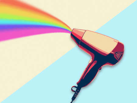 hair style fashion: Hair dryer blowing rainbow flat design illustration Beauty and Fashion concept trendy style Stock Photo