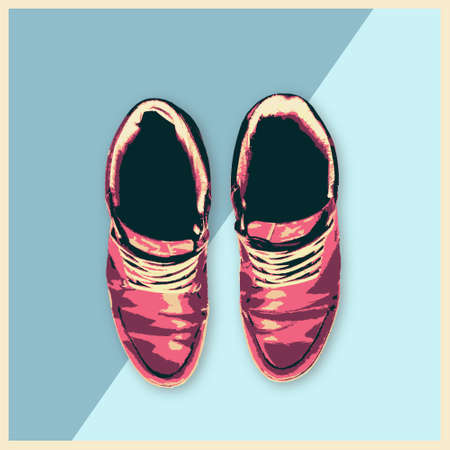 footwear: Leather Shoes Sneakers Fashion man footwear flat design illustration Beauty and Style concept trendy style