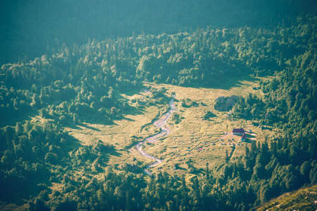 fisht: Aerial view Mountains Landscape camping and forest Summer Travel scenic