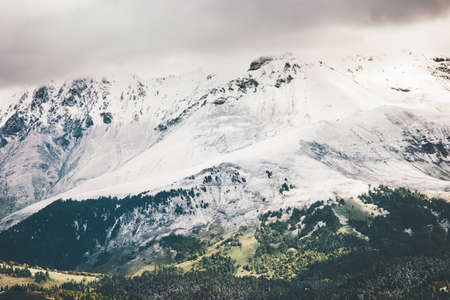 cloudy moody: Snow Mountains beautiful Landscape Travel scenic aerial view cloudy moody weather