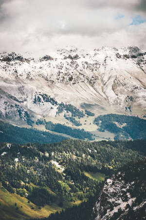 cloudy moody: Mountains and Forest beautiful Landscape Travel scenic aerial view cloudy moody weather