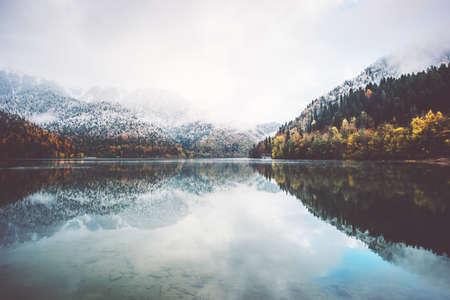 serene landscape: Lake and autumn Forest Landscape Travel foggy serene scenic view wild nature
