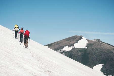 Travelers Group randonnée dans les montagnes paysage glacier Voyage Lifestyle Aventure vacances extrêmes de plein air Banque d'images
